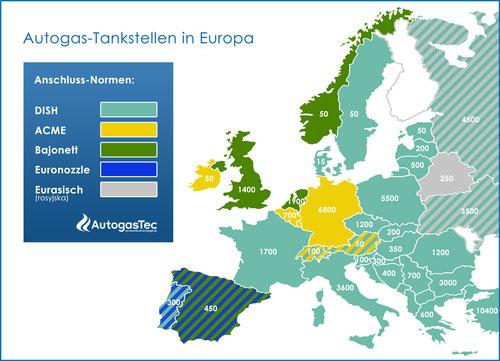 LPG-Adapter und Autogas-Tankstellen in Europa