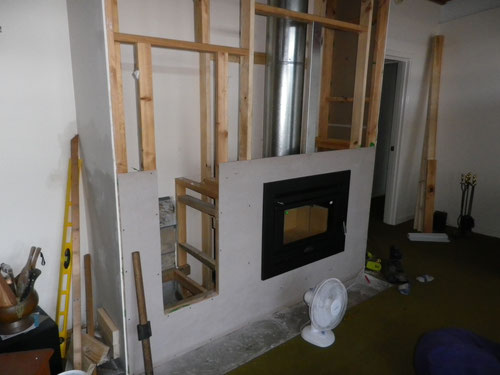 Fire in, and cement sheet going on the front