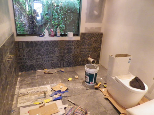 Almost done. The hole in the floor is to get the waste from the bath under the wall into the pipe next door.  Luckily I spotted the two X tiles together before they set. That would've driven my OCD mental