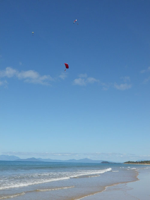 Parachutes on the beach