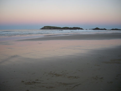 Camp beach at sundown