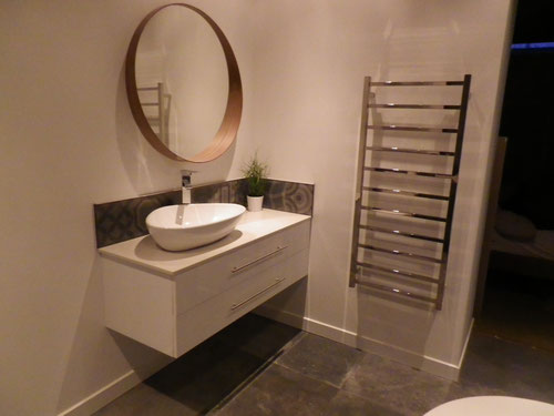 Vanity in and working, plus heated towel rail