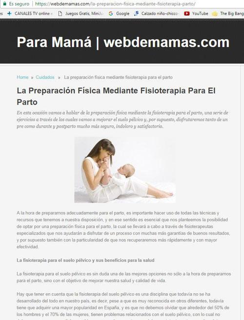 Colaboración de Blanca Cubero, de Clínica Fisia, con webmamás en un artículo sobre preparación al embarazo