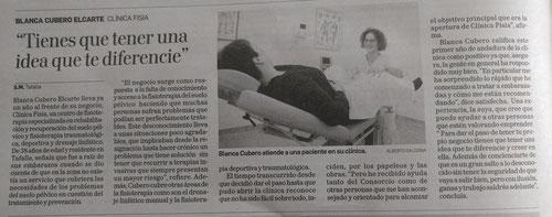 Clínica Fisia en un reportaje de Diario de Navarra