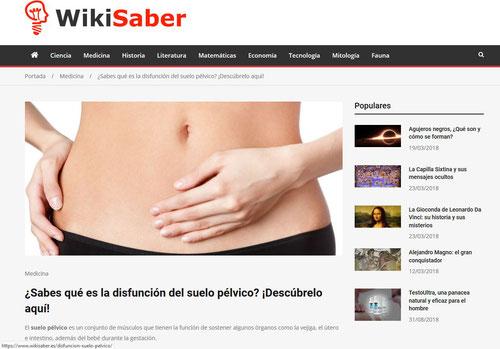 Colaboración de Blanca Cubero, de Clínica Fisia, con wikisaber sobre las disfunciones del suelo pélvico