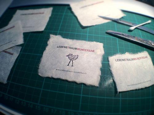 Lebenstraum Wunderbar - Label aus handgeschöpftem Naturpapier