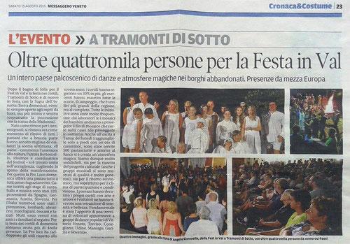 ARTICOLO MESSAGGERO VENETO —15 AGOSTO 2015