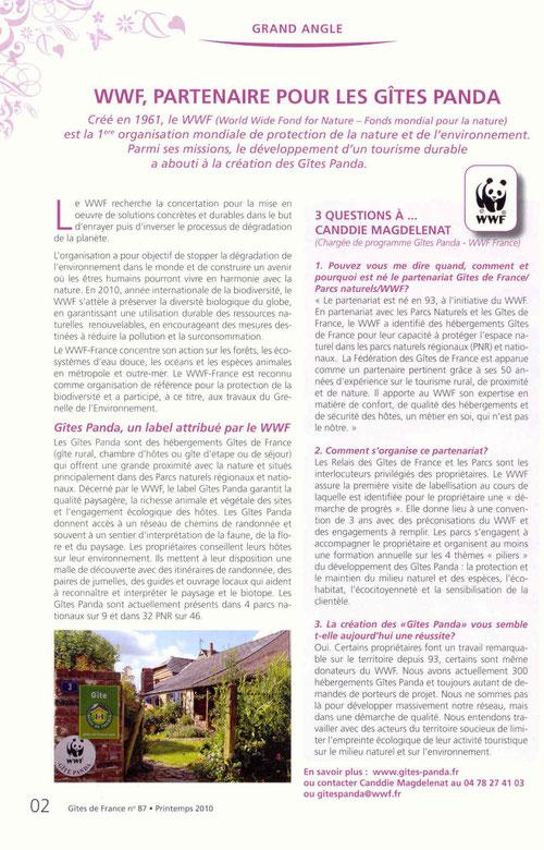 Page 2 de la revue de la fédération Nationale des Gîtes de France, juillet 2010.