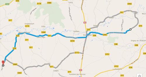 Itinéraire gîte - Le Sourd