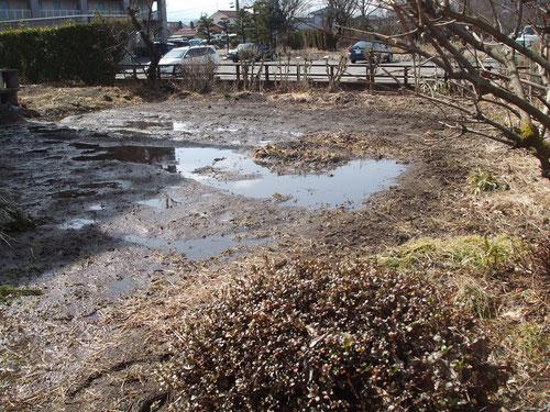雪解けで畑は池のよう