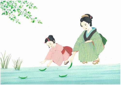 笹舟(伊藤桂一著・「月夜の夢」からのイメージで)