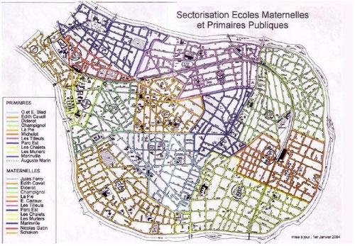 Carte scolaire saint maur pour les élémentaires et maternelles au 01/01/2004