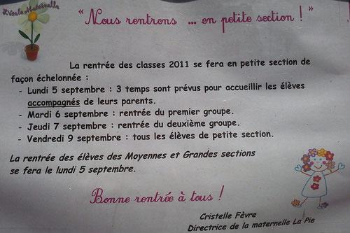 Rentrée scolaire maternelle la Pie 2011