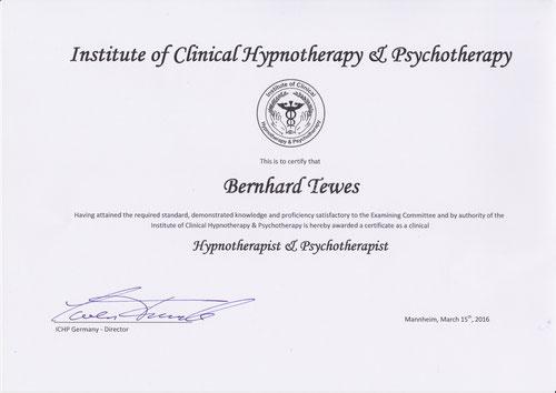 ICHP Zertifikat