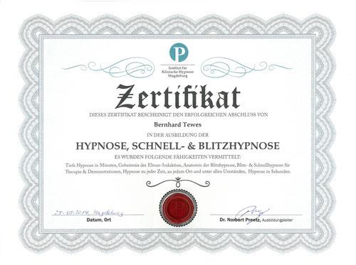 Zertifikat Schnellhypnose Dr. Norbert Preetz