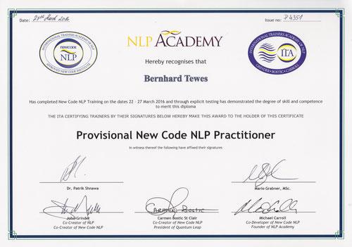 New Code Zertifikat