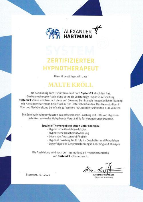 Malte Kröll Zertifikat System23 Kiez Hypnose Berlin