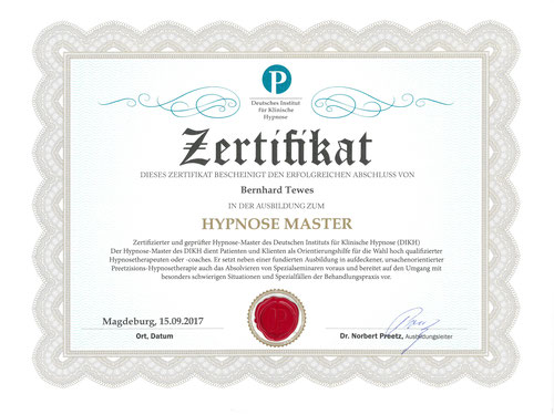 Zertifikat Hypnose Master, Dr. Norbert Preetz