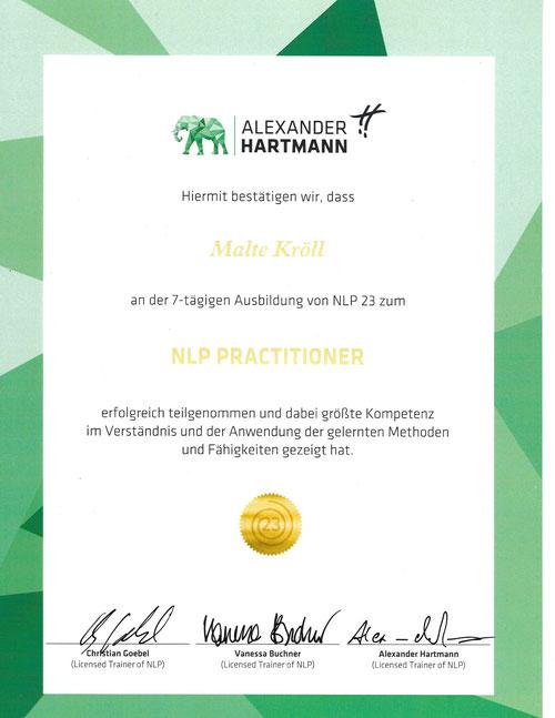 Malte Kröll Zertifikat NLP 23 Kiez Hypnose Berlin