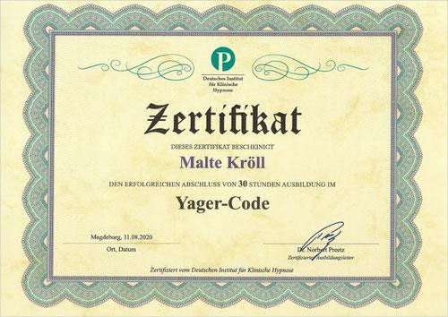 Malte Kröll Zertifikat Yager Code Kiez Hypnose Berlin