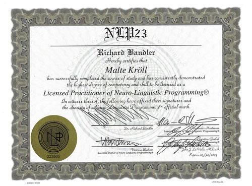 Malte Kröll Zertifikat Bandler Kiez Hypnose Berlin