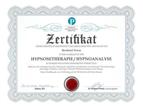Zertifikat Hypnoanalyse Dr. Norbert Preetz