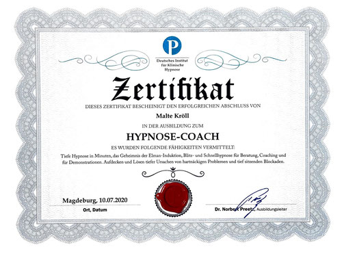 Malte Kröll Zertifikat Preetz Hypnose Kiez Hypnose