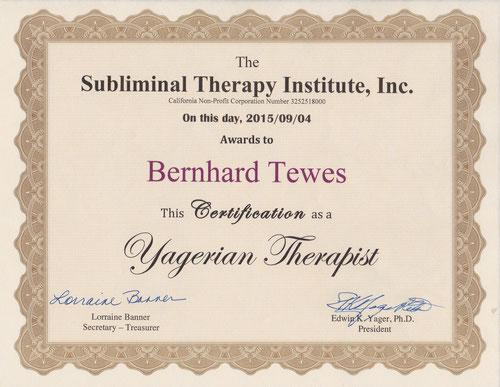 Zertifikat Subliminal Therapie