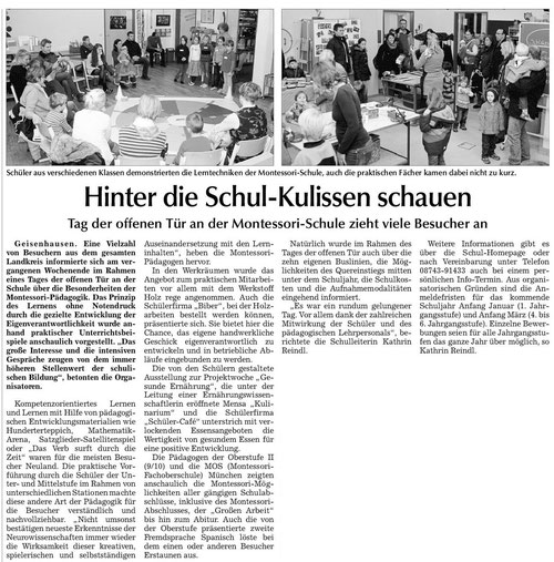 Artikel zum Tag der offenen Tür der Schule in der Vilsbiburger Zeitung vom 9.12.13
