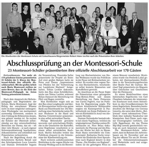 Artikel zur Großen Arbeit in der Vilsbiburger Zeitung vom 16.11.13