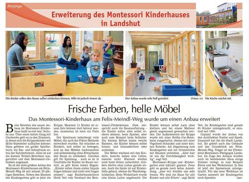 Artikel zur Krippe in der Landshuter Zeitung vom 18.10.13