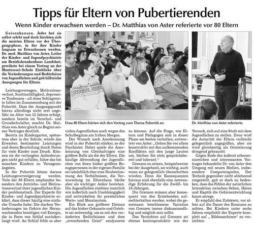 """Artikel """"Tipps für Eltern von Pubertierenden"""""""
