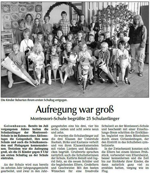 Artikel zum Schulanfang in der Landshuter Zeitung vom 13.09.13