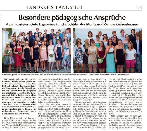 Artikel zur Entlassungsfeier in der Landshuter Zeitung vom 23.07.13