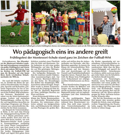 """Artikel """"Wo pädagogisch eins ins andere greift"""" vom 26.06.2014 in der Vilsbiburger Zeitung"""