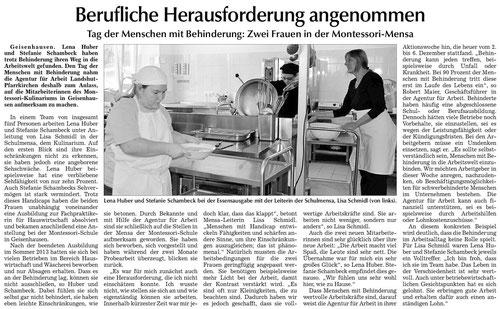 Artikel zu Inklusion im Kulinarium in der Landshuter Zeitung vom 9.12.13
