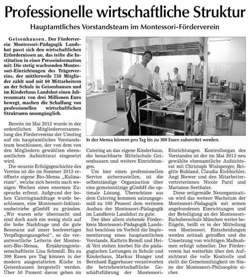 Artikel zur neuen Struktur und Kulinarium in der Vilsbiburger Zeitung vom 25.11.13