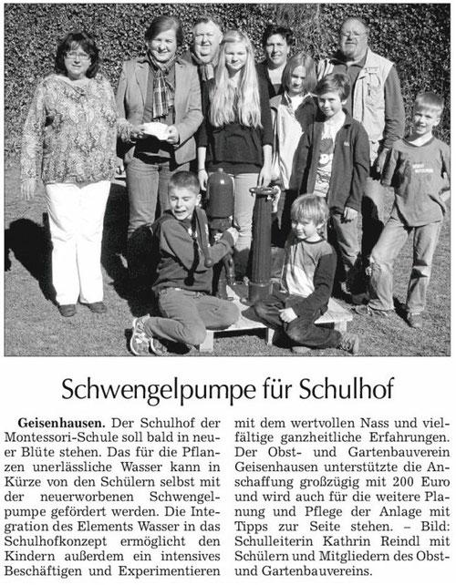 """Artikel """"Schwengelpumpe für Schulhof"""""""