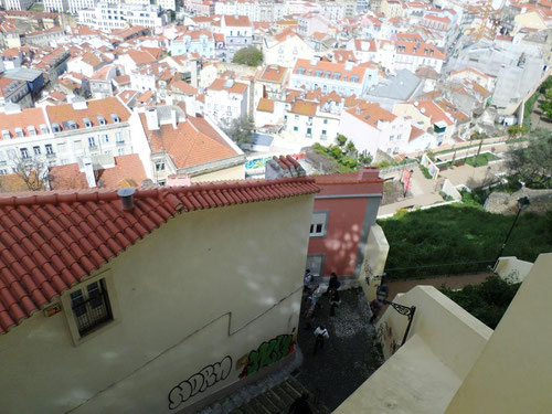 Les escaliers qui arrivent au miradouro da Graça que l'on appelle Caracol da Graça
