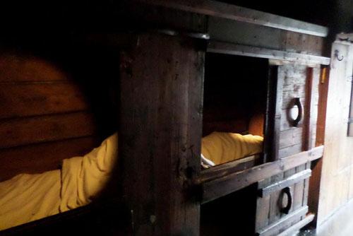 Lits des apprentis qui dormaient à deux par lit