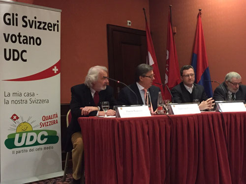 Medienkonferenz: Ein Jahr nach der Abstimmung zur Masseneinwanderung. Con i miei amici del'UDC Ticino. Februar 2015