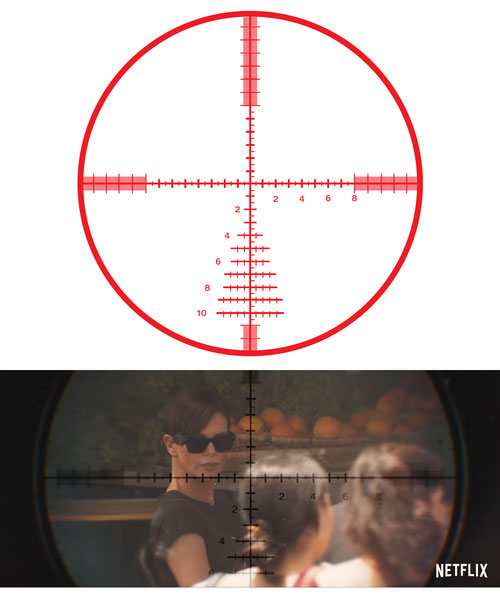 Reticle design (Top) and in the film (Bottom)