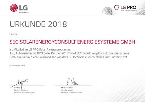 LG Pro Partner 2018 SEC SolarEnergyConsult Energiesysteme GmbH