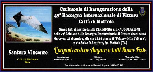 """Invito inaugurazione 49^ edizione della rassegna d'arte """"Artisti a confronto"""" - Città di Mottola, organizzata da Giovanni Rogante."""