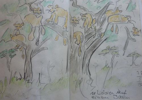 Elf Löwen auf einem Baum