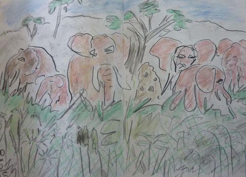 Rosa Elefanten im Tarangirepark
