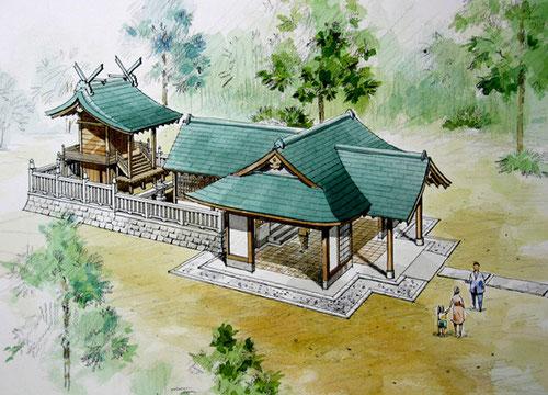 岡山の神社改修の手描きパース