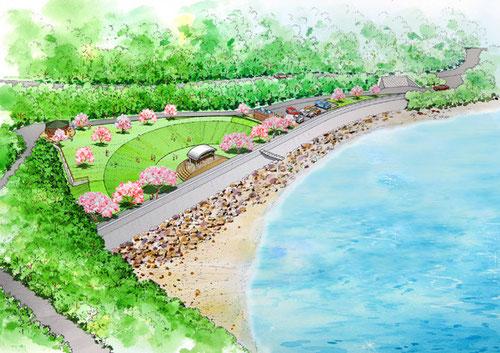 海辺の公園の鳥瞰手描きパース
