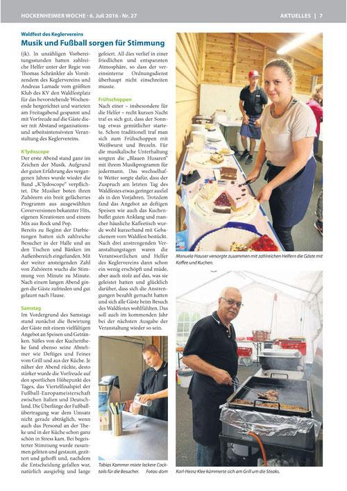 Presseartikel von der Hockenheimer Rundschau ( Waldfest 2016 )