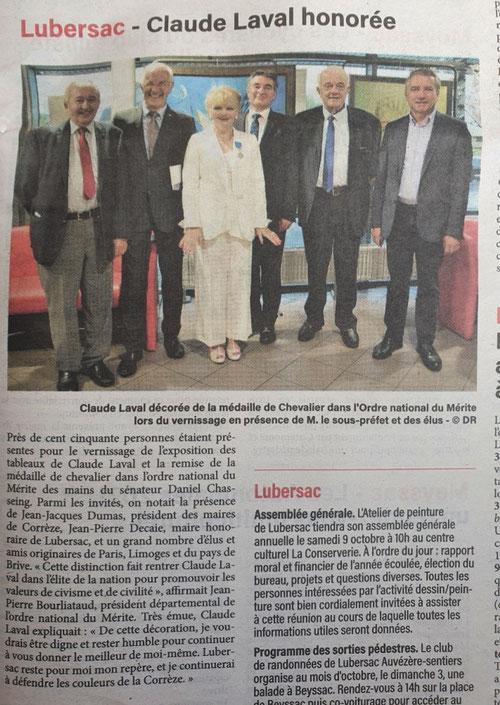 Journal La Vie Corrézienne du 1er octobre 2021
